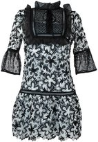 Self-Portrait floral embroidered frill dress - women - Cotton/Polyester - 12