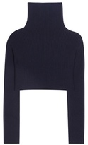 Valentino Cropped virgin wool and cashmere turtleneck sweater