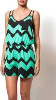 Green & Black Poema Chevron Romper