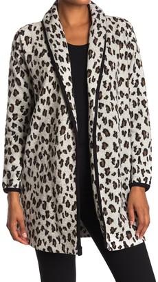 Magaschoni Leopard Print Knit Cardigan