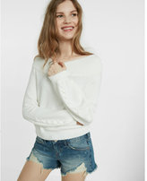 Express lace-up balloon sleeve sweater