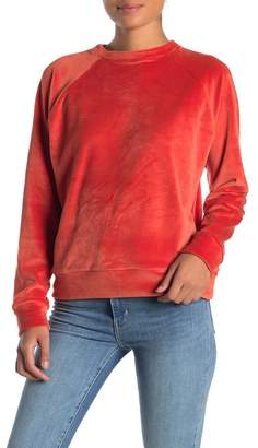 Double Zero Round Neck Raglan Sleeve Velour Sweater