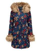Joe Browns Funky Fur Trim Floral Parka