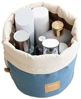 Audrey's Travel Cosmetic Bag Nylon High Capacity Drawstring Bag Makeup Organizer Storage (Blue)