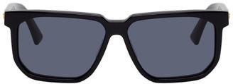 Bottega Veneta Black Rectangular Angular Sunglasses