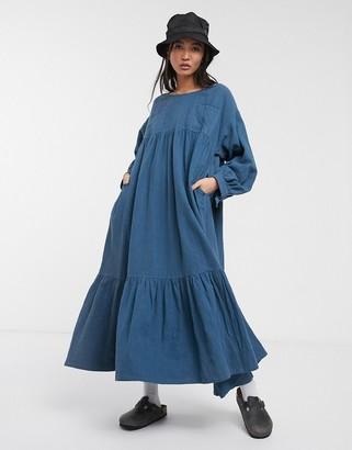 L.F. Markey kelvin trapeze midi dress in denim blue