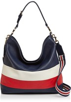 Tory Burch Duet Stripe Leather Hobo