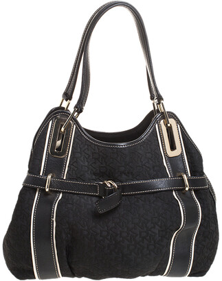 DKNY Black Monogram Fabric and Leather Tote