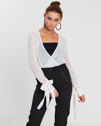 NA-KD Wrap Tie Sleeve Blouse