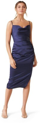 Forever New Laura Satin Cowl Ruched Midi Dress Deep
