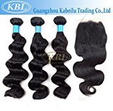 "KBL 7A Brazilian Virgin Hair Loose Wave 3 Bundles with 4x4 Silk Base Closure Free Part 180% Density Unprocessed Natural Remy Human Hair Extensions Natural Black#1B (3x16"" hair weft+10"" lace closure)"