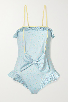 LoveShackFancy Edna Bow-embellished Lace-up Floral-print Swimsuit - Blue
