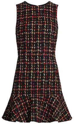 Alice + Olivia Sonny Flounce Hem Tweed Dress