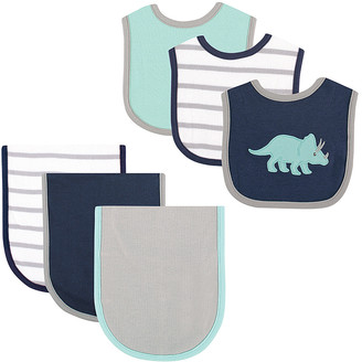 Hudson Baby Boys' Ski Bibs Dinosaur - Blue Dinosaur Bib & Burp Cloth Set - Newborn