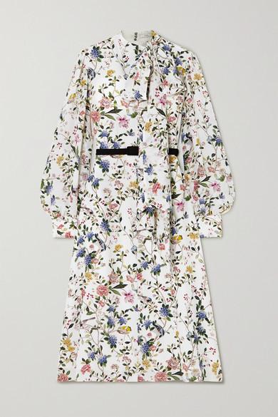 Erdem Marceline Belted Pussy-bow Floral-print Silk Crepe De Chine Midi Dress - White