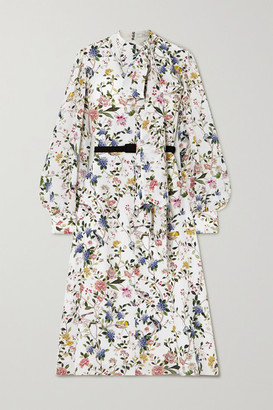 Erdem Marceline Belted Pussy-bow Floral-print Silk Crepe De Chine Midi Dress - White