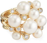 David Yurman 18k Large Diamond & Pearl Cluster Ring, Size 6