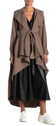 Tov Pleated High/Low Hem Coat
