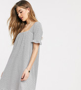 Asos Tall DESIGN Tall square neck frill sleeve smock dress in navy and cream stripe