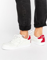 Diadora B. Elite Premium Embossed Trainers In White & Red