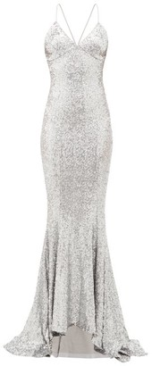 Norma Kamali Fishtail-hem Sequinned Maxi Dress - Silver