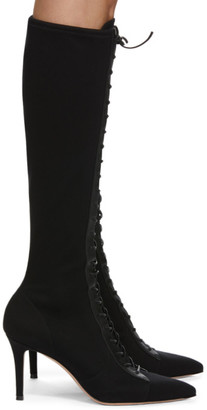Gianvito Rossi Black Stretch Lace-Up Boot