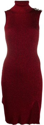Philipp Plein Ribbed-Knit Turtleneck Dress