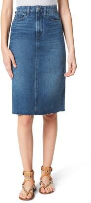 Joe's Jeans The A-Line Raw Hem Denim Pencil Skirt