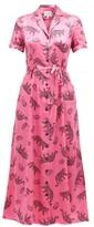 HVN Maria Belted Leopard-print Silk-satin Shirtdress - Womens - Pink Print