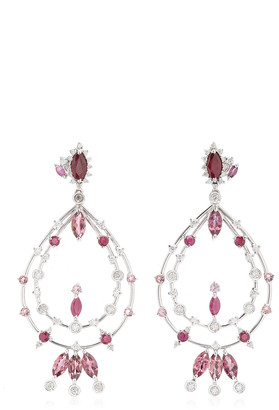 Carolina Neves Pink 18K Yellow Gold Multi-Stone Earrings