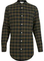 River Island MensGreen check longline grandad shirt