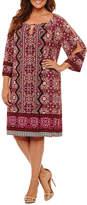 London Times 3/4 Sleeve Scroll Sheath Dress - Plus