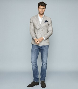 Reiss Extra - Puppytooth Linen Blazer in Grey
