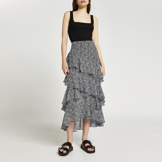 River Island Womens Black maxi ruffle skirt