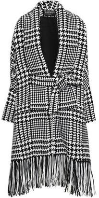 Balmain Fringed Houndstooth Wool-blend Coat