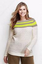 Classic Women's Plus Size Linen Colorblock Sweater-Coral Bliss Stripe