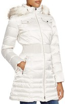 Laundry by Shelli Segal Cinched-Waist Coat with Faux-Fur Trim