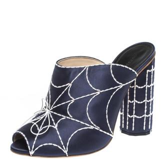 Marco De Vincenzo Blue Embroidered Satin Open Toe Block Heel Sandals Size 41
