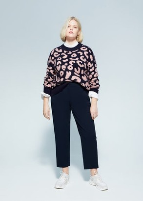 MANGO Violeta BY Leopard pattern sweater dark navy - S - Plus sizes