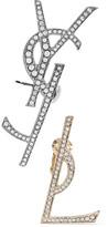 Saint Laurent Gold And Gunmetal-tone Swarovski Crystal Clip Earrings - one size