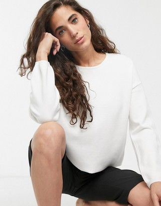 Selected Minna long sleeve round neck jumper-White