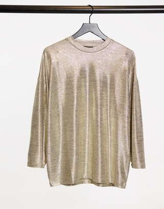 ASOS DESIGN oversized longline T-shirt with 3/4 wide sleeve in gold