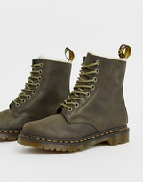 Dr. Martens Serena lined leather ankle boots in olive