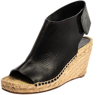 Celine Black Leather Open Toe Espadrilles Wedge Sandals Size 37