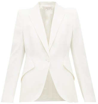 Alexander McQueen Single-breasted Grain-de-poudre Wool Jacket - Womens - Ivory