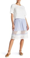 French Connection Kyra Contrast Crochet Flare Skirt