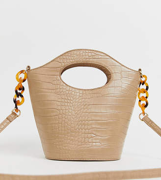 My Accessories London Exclusive mock croc bucket cross body bag with resin strap detail-Beige