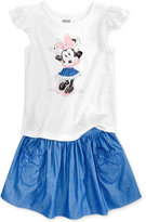 Disney Disney'sandreg; Minnie Mouse 2-Pc. Graphic Top and Skirt Set, Little Girls (4-6X)