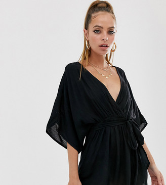 Asos DESIGN Petite plunge tie waist kimono sleeve crinkle beach cover up in black
