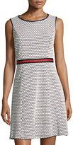 Chetta B Sleeveless Striped-Waist Dress, White/Blue